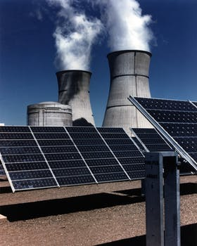 Commercial solar panels at power plant
